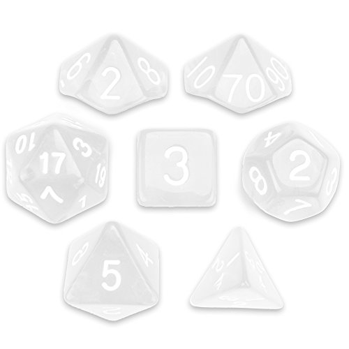 7 Die Polyhedral Dice Set - Astral Echoes (Translucent Colorless) with Velvet Pouch by Wiz Dice]()