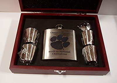 Clemson Tigers 2018-2019 NCAA National Football Champions 6 oz stainless steel flask with 4 stainless steel shot glasses and a funnel in a rosewood presentation box