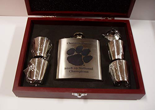 (Clemson Tigers 2018-2019 NCAA National Football Champions 6 oz stainless steel flask with 4 stainless steel shot glasses and a funnel in a rosewood presentation box)