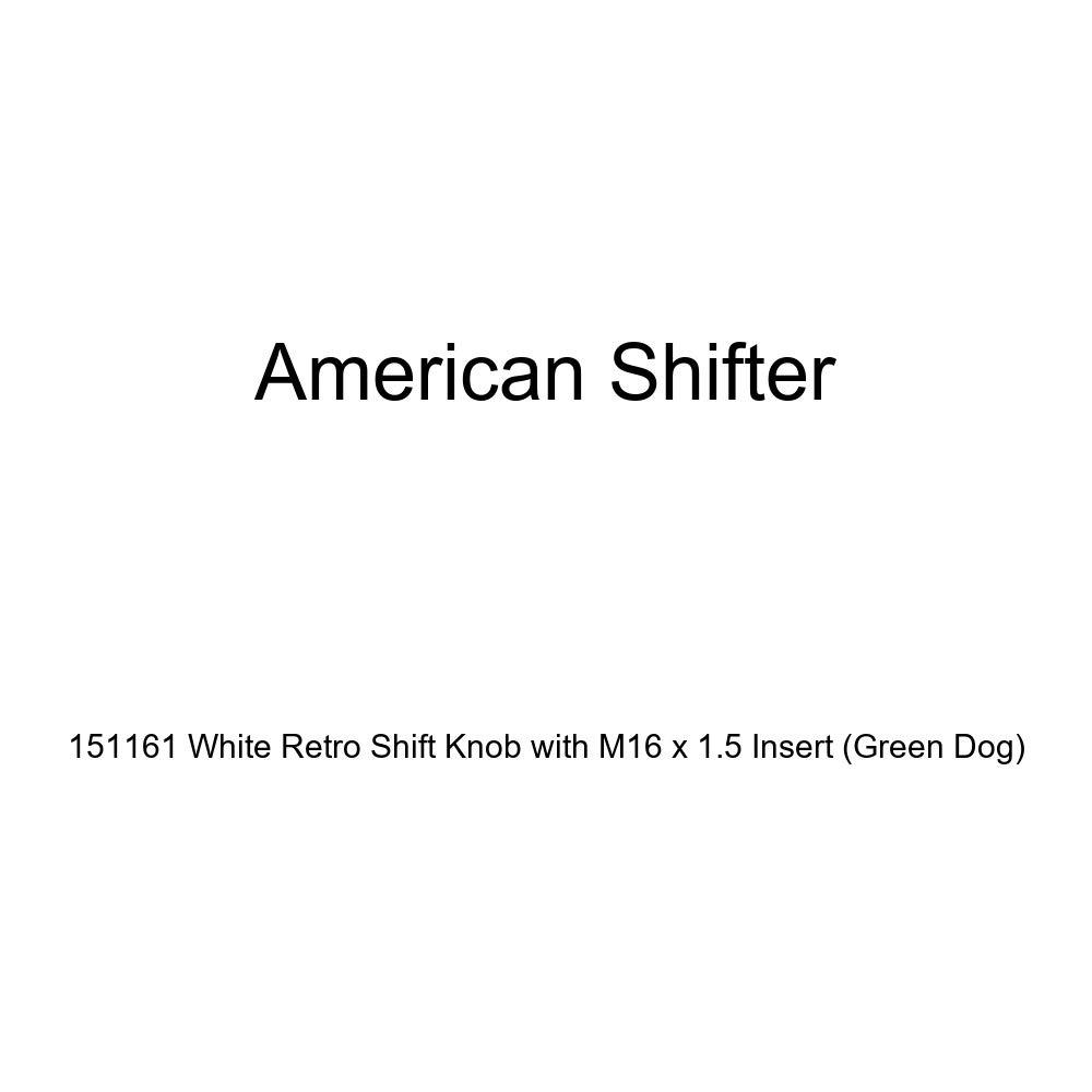 American Shifter 151161 White Retro Shift Knob with M16 x 1.5 Insert Green Dog