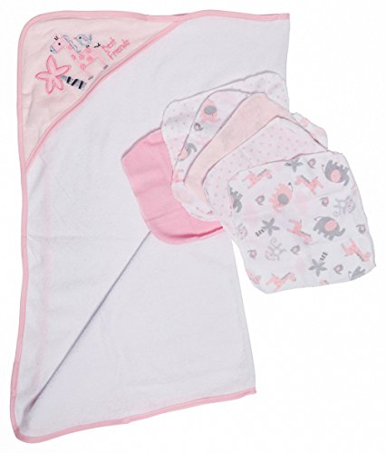 Pink Hooded Towel Set (Little Beginnings Zoo Print Hooded Towel and Washcloths Gift Set, Pink)