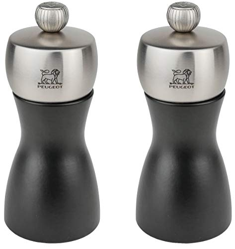 Peugeot Fidji Stainless Steel Salt and Pepper Mill Set, 12cm/4 3/4-Inch, Black Matte