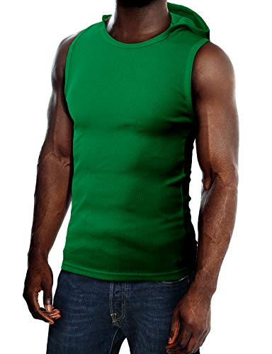 H2H Mens Cotton Hooded Sleeveless T-Shirts Green US XL/Asia XXL (JPSK05) - Green Sleeveless Cotton Shirt