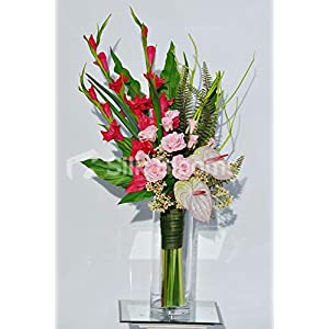 Silk Blooms Ltd Artificial Pink Anthurium and Rose Floral Arrangement w/Red Gladioli and Waxflower 5