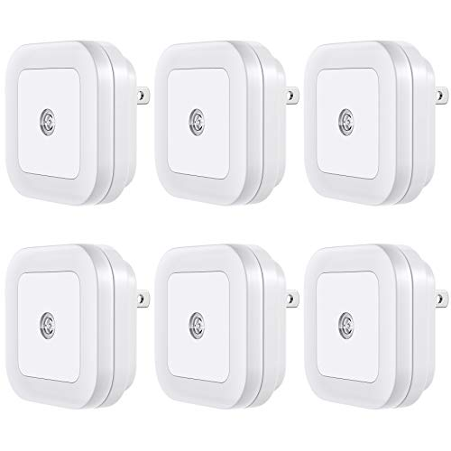 LED Night Light (Plug-In) Smart Dusk to Dawn Sensor - Automatic Night lights Suitable for Bedroom, Bathroom, Stairs,Kitchen,Hallway,Kids,Adults ,Compact Design Nightlight , Energy Efficient (6 Pack)