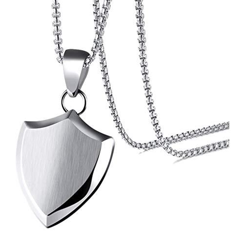 Shield 5/8' Jewelry Pendant - Xusamss Fashion Titanium Steel Triangle Shield Tag Pendant Necklace with 24 Inch Chain