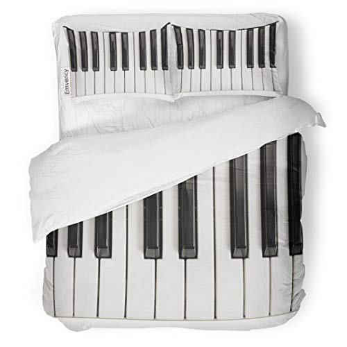 (SanChic Duvet Cover Set Music Piano Keys Vintage Acoustic Black Chord Classic Decorative Bedding Set with 2 Pillow Cases King Size)