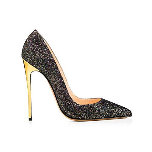Bureau Soirée Banquet Stiletto Paillettes Tampon De Chaussures Chaussures Paillettes Pointé Navettage Élevé Antidérapant Simples Black OL Mme xz6qZpzw