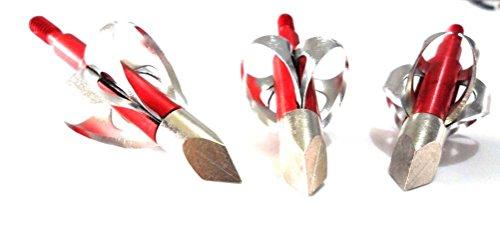 Bcslinek Archery Red Archery 2 Blade Broadheads Extensible Arrow Points for Archery Arrow 6 Pack, 100 Grain