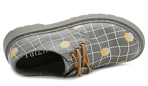 Idifu Moda Donna Stampata Bassa Allacciata Stringate Oxford Scarpe Da Lavoro Brogues Tacco Basso Grigio