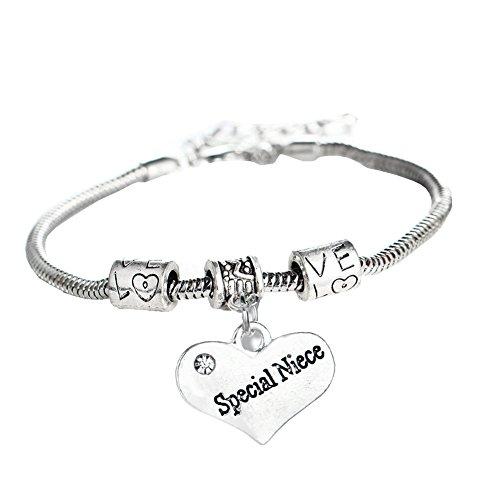 Rhinestone Love Heart Charm - Family Members Special Niece Rhinestones Love Heart Charm Snake Chain Bracelets With Extender