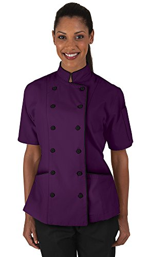 Women's Eggplant Chef Coat with Piping (XS-3X) (XX-Large) (Traditional Chefs Ladies Jacket)