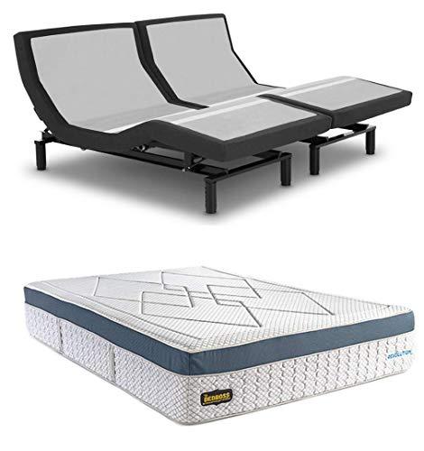 Leggett & Platt Prodigy 2.0 Adjustable Bed with Your Choice of Bed Boss Cool Gel Memory Foam Matt (Split King(2 Twin XL Matts) + Revolution 15