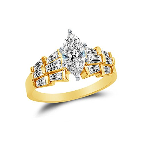 Marquise Created Moissanite Ring (Size - 5 - 14k Yellow Gold Highest Quality CZ Cubic Zirconia Marquise Engagement Ring (1.0ct. Center Stone))
