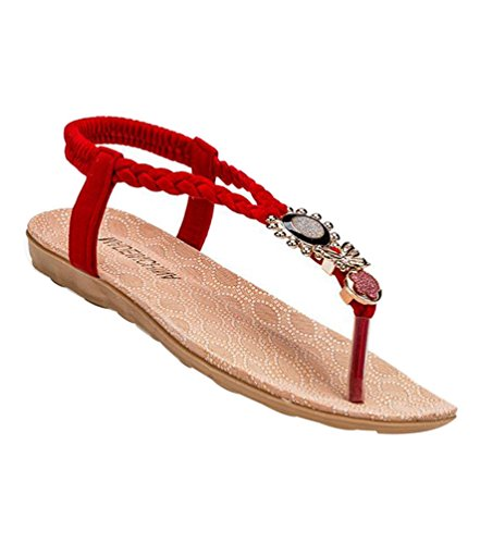 YOUJIA Women's Metal Ornaments Elegant T-Strap Bohemia Sandals Summer Flip Flops Flat Shoes Thongs #3 Red