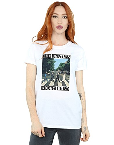 The Beatles Women's Abbey Road Boyfriend Fit T-Shirt Small White
