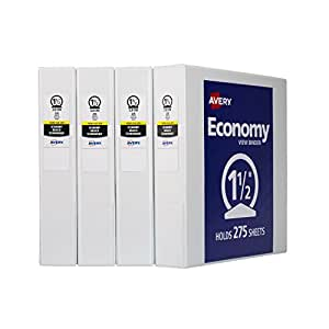 Avery Economy View Binder with 1.5-Inch Round Ring, White, Pack Of 4 (19201)