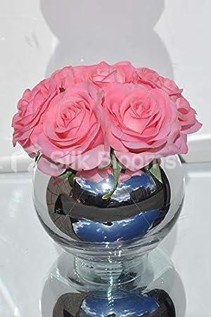 Silk Blooms Ltd - Pecera Artificial de Color Rosa pálido y Rosa Fresca con Efecto Espejo: Amazon.es: Hogar