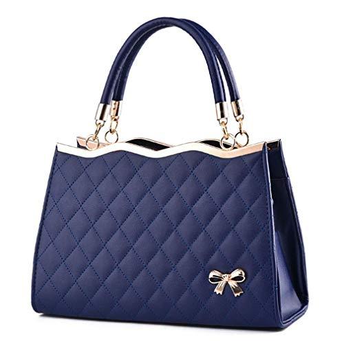 PU de Bolsos Pink 30x11x20cm de Blue de Mano Bolsos de Deep Bolsos Mujer Cuero rzwdrvq6