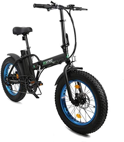 "ECOTRIC Electric Fat Tire Bicycle Folding Bike 36V 12Ah 500W Lithium Battery Beach Snow Mountain 20"" Ebike Moped"