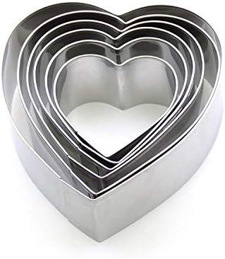 FJTHY Molde para Mousse en Forma de corazón de Acero Inoxidable para Hornear Molde para Torta de 6 Piezas Molde para Pastel de tiramisú,Plata,Un tamaño