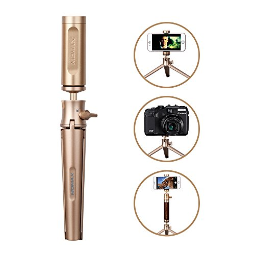 Phone Tripod, MOMAX Portable Alluminum and Adjustable Camera Stand Holder for iPhone, Android Phone, Camera,Sports Camera GoPro and Live Webcast (Champagne) Review