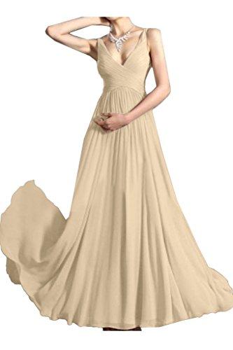 Traeger Einfach Damen Linie Festkleid Partykleid Ivydressing V Ausschnitt Promkleid A Champagner Abendkleid RYwgxB