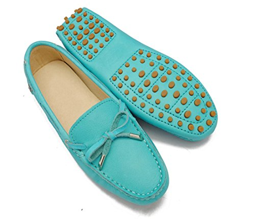 LL STUDIO Womens Casual Bowknot Blue Suede/Leather Driving Walking Penny Loafers Boat Shoes 5 M US -  LL STUDIO-YIBU9602-Blue-Leather35