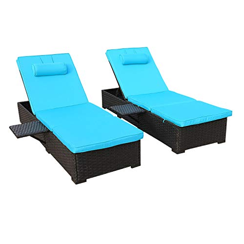 Outdoor PE Wicker Chaise Lounge - 2 Piece Patio Black Rattan Reclining Chair Furniture Set Beach Pool Adjustable Backrest Recliners with Turquoise Cushions
