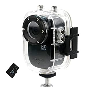 AFUNTA New Waterproof SJ1000 Camera 4-in-1 12MP 1080P Full HD Sports Action Camera Car Dashcam with G-Sensor Motion Detection 140 Degrees Wide Angle Lens HDMI H.264 DVR194 HD for Extreme Sports Camera w/ 8GB Memory Card (Black)