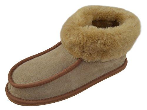 Ladies Full piel de cordero zapatillas botas con piel de cordero puños, piel o duro único, varios colores Camel (Hard Sole)