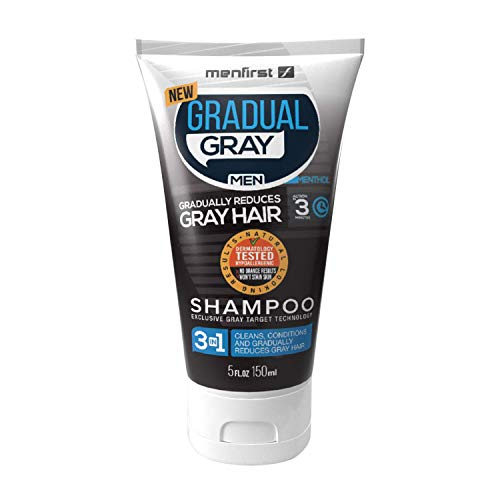 MenFirst Gradual Gray 3 in 1 Grey Reducing SHAMPOO For Men - Cleans