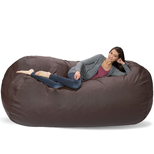 Comfy Sacks 7.5 ft Lounger Memory Foam Bean Bag Chair, Brown Faux Leather ()