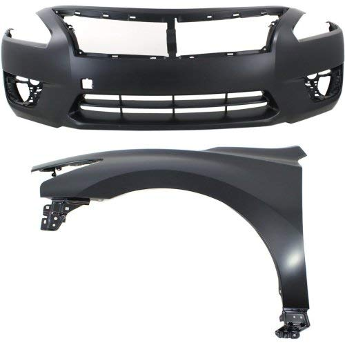Auto Body Repair Compatible with NISSAN Altima 2013-2015 Set of 2 Front With Bumper Cover and Fender (Left Side) Sedan