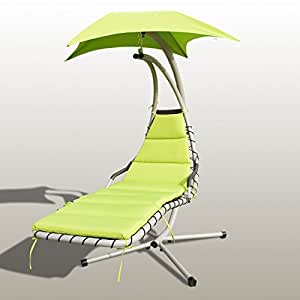 Green Hanging Chaise Lounger Chair Arc Stand Air Porch Swing Hammock Cha0656081476847ir Set