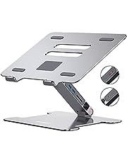 Laptopstativ, Orico aluminium höjdjusterbar ventilerad laptophållare med USB 3.0 hub SD-kortläsare, Homeoffice Notebook stativ kompatibel för bärbar dator (11–15,6 tum) MacBook Pro/Air – silver