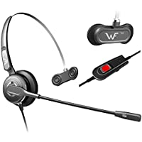 Premium Quality Profesional Call Center Headset Headphones Ear Phone + Adjustable Volume + Mute Control for Polycom Soundpoint Ip Phone 300 4xx 500 5xx 6xx Series Phone, Avaya Lucent 64xx Series Phone, Nortel Networks Nt Nothern Telecom Meridian PBX Norstar M72xx M73xx Series Phone, NEC Aspire DTU Dpt-xx Series Phone, Mitel Siemens Toshia
