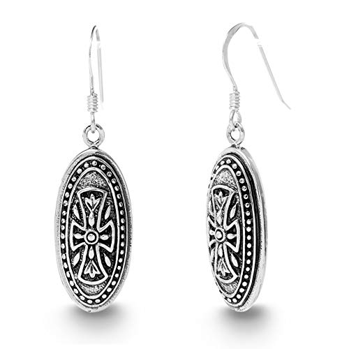 WILLOWBIRD Textured Oval Cross Dangle French Wire Earrings for Women In Oxidized 925 Sterling Silver (Oval Cross) ()