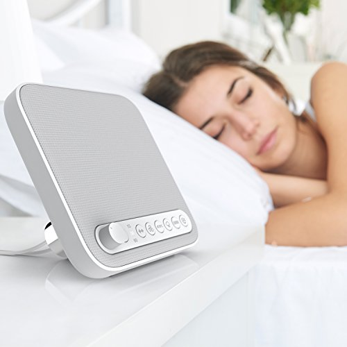Pure Enrichment Wave Premium Sleep Therapy Sound Machine White – 6 Soothing All-Natural Sounds – White Noise, Fan, Ocean, Rain, Stream, Summer Night – Plus Auto-Off Timer USB Output Charger