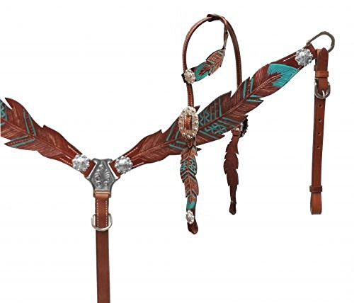 Bridle Ear (Showman Teal Painted Feather Medium Oil Leather Horse One Ear Bridle Headstall Breast Collar Reins)