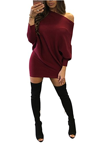 houlder Long Batwing Sleeve Bodycon Slim Party Sweater Dress(Burgundy,XL) ()