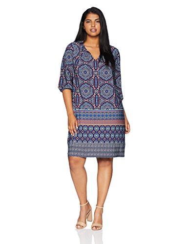 London Times Women's Plus Size 3/4 Sleeve Keyhole Neck TIE Shift Dress, Blue/Orange, 2X -