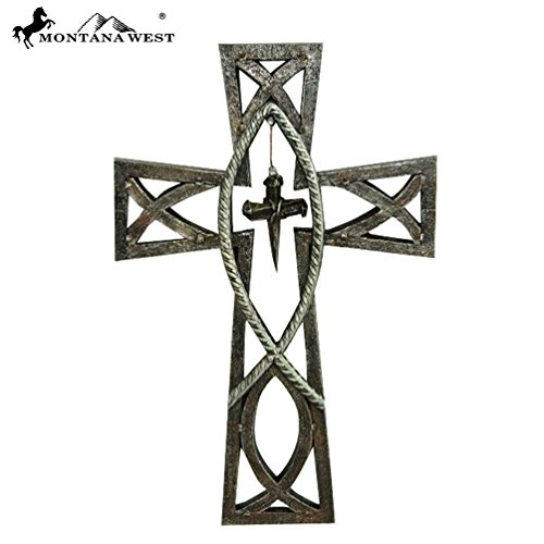 RSD-1690 Montana West Western Christian Fish Symbol Wall Cross 11