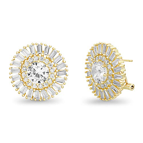 INSPIRED BY YOU. Baguette and Round Shaped Prong Set Cubic Zirconia Ballerina Stud Bridal Earrings for Women with Omega Back in Yellow Gold Plated Sterling Silver (Yellow)