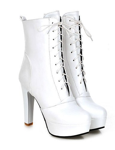 Punta Eu39 Botas Y Tacón Cerrada Stiletto negro Cn39 us8 Trabajo Oficina Sintético Redonda Xzz Casual Vestido De White Cuero us8 Mujer Uk6 Brown Zapatos tvqnwxfHX8