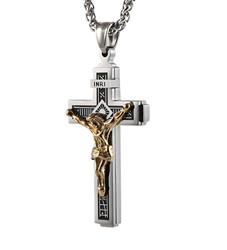 HZMAN Catholic Jesus Christ on INRI Cross Crucifix stainless steel Pendant Necklace 24