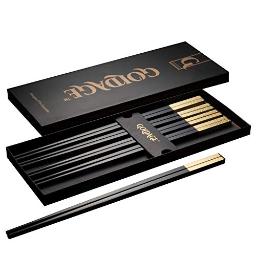 Goldage 5-Pairs Fiberglass Dishwasher-safe Chopsticks - Sunset Glow (Gold) (Handmade Modern Glow In The Dark Paint)