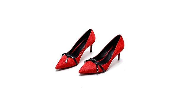 YUBIN La Primavera Y El Otoño Zapatos Sociales De Crin Zapatos De Tacón Alto Hembra Boca Superficial Puntiagudo con Zapatos Solteros Trabajo Zapatos De ...