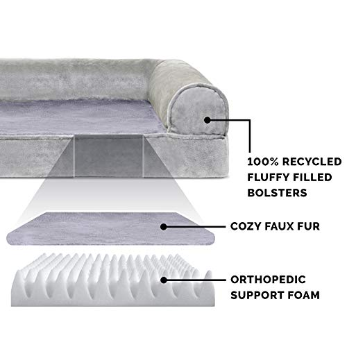 FurHaven Pet Dog Bed | Orthopedic Faux Fur & Velvet Sofa-Style Couch Pet Bed for Dogs & Cats, Smoke Gray, Jumbo by Furhaven Pet (Image #3)'