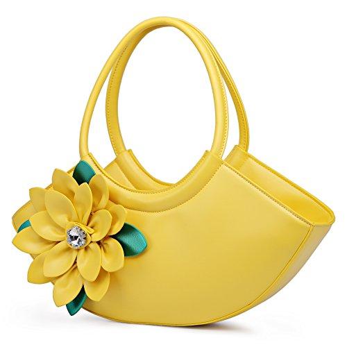 KAXIDY Party Leather PU New Style Handbag Tote Wedding Flowers Yellow Handbags 01w0rq